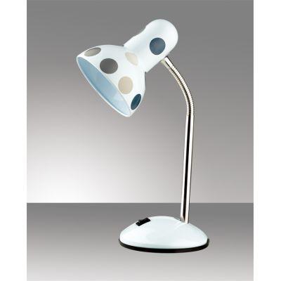 """Odeon Light 2592/1T Настольная лампа с выключателем Цвет: белый/""""горох"""" серый/синий"""