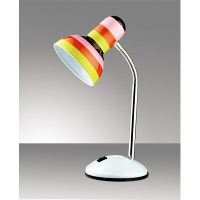 "Odeon Light 2593/1T Настольная лампа с выключателем Цвет: белый/""полоска"""